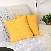 Ifnow Linen Cotton Throw Pillow Covers Square Pillowcases Solid Color Decorative Soft Cushion Case for Sofa Bedroom Car -2 Packs Throw Pillow Covers