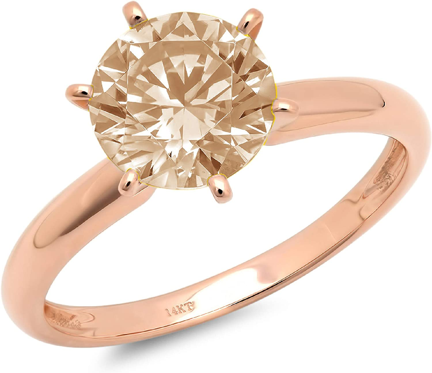 1.95ct Brilliant Round Cut Solitaire Brown Champagne Simulated Diamond CZ Ideal VVS1 D 6-Prong Classic Designer Statement Ring in Solid Real 14k rose Gold for Women