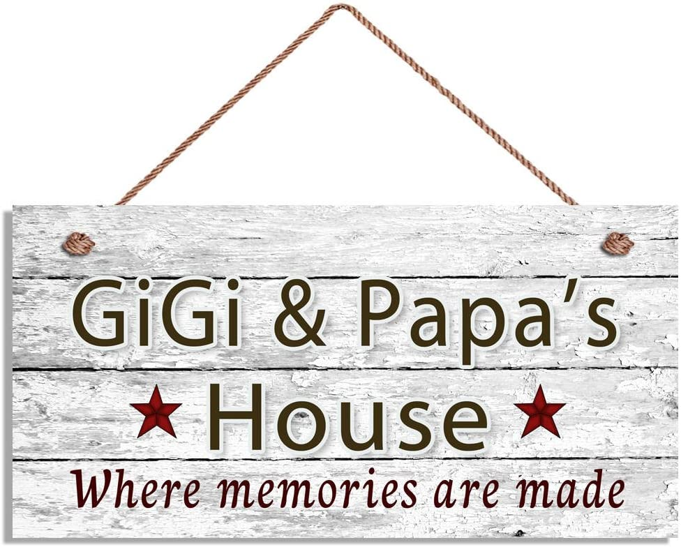 Augus Church Gigi & Papa's House Sign, Where Memories are Made, Distressed Wall Art, Gift for Grandparents, 5