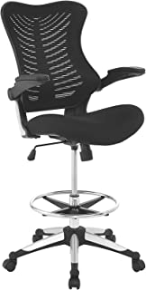 Modway EEI-2286-BLK Charge Drafting Chair - Reception Desk Chair - Drafting Stool with Flip-Up Arms in Black