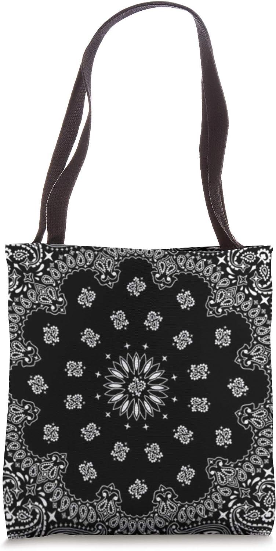 Classic Black White Bandana Tote Bag