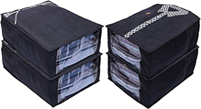 Heart Home Parachute Waterproof 4 Pieces Shirt and Trouse Cover Quilted/Wardrobe Organizer (Black) - CTHH13792