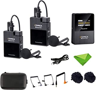 Comica BoomX-D D2 Wireless Lavalier Microphone System,2.4G Digital 1-Trigger-2 Wireless Microphone OLED Display Transmitte...
