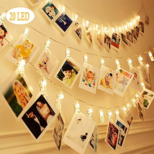 Bluegogo 20 LED Photo Clips String Lights, 3 Modes Fairy Twinkle Lights for Home Decor