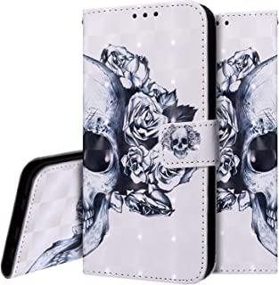 PHEZEN Case for LG Stylo 5, LG Stylo 5 Plus Wallet Case,3D Bling PU Leather Folio Flip Case Full Body Protective Phone Case Cover with Kickstand Credit Card Wrist Strap for LG Stylo 5 - Skull Flower