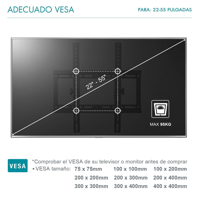 Famgizmo Soporte de Pared para TV de 22-55 Pulgadas (55-140cm), ±15° Inclinable, VESA 100x100-400x400mm, Carga 95kg, para Televisores de Pantalla Plana LED LCD Plasma Curvada, con Nivel de Burbujas: Amazon.es: Electrónica