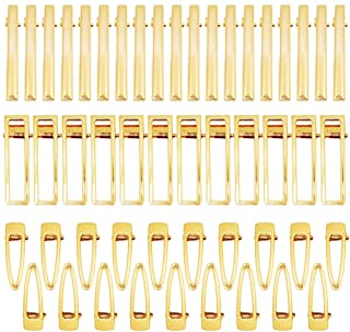Gukasxi 60 Pieces Gold Alligator Hair Clips Metal Flat Hollow Hair Pins Barrettes for Hair Clip Silicone Molds DIY Resin H...