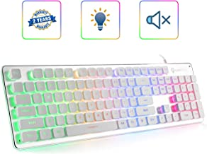 LANGTU Membrane Gaming Keyboard, Rainbow LED Backlit Quiet Keyboard for Office, USB Wired All-Metal Panel 25 Keys Anti-ghosting Computer Keyboard 104 Keys - L1 White/Silver