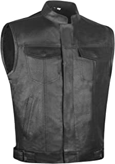 Men's Armor SOA Perforated Leather Motorcycle Breathable Biker Club Vest L