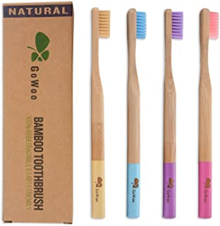 GoWoo 100% Natural Bamboo Toothbrush Soft (PACK OF 4, ADULT, Rainbow)