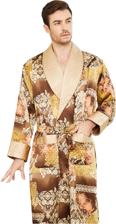 LZJDS Men's Silk Pajamas Long Silkworm Silk Pajamas Bathrobes Home Service Double-Layer Thickening Spring Autumn and Winter,8888,L