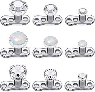 Kridzisw 9pcs Opal Stone Dermal Anchor Tops and Base 316L Surgical Steel Titanium Microdermal Piercing Body Jewelry Top Size 2mm 3mm 4mm
