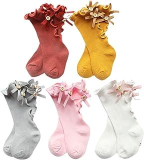 XPX Garment, 5 Pares Arco Con Volantes Algodón Calcetines Largos para Bebé Niñas 0-5 años