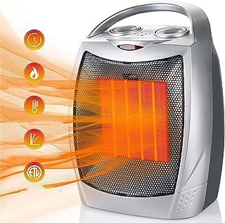 AUZZO HOME Portátil Calefactor Eléctrico de 1500W Ventilador de Calentador de 3 velocidades con protección contra vuelcos contra sobrecalentamiento y termostato Ajustable para Oficina en Interiores
