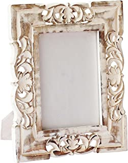 CraftnGifts Photo Frame Shabby Chic Hand Carved Photo/Picture Frame 6x4 in Solid Mango Wood - Decorative Distressed Finish