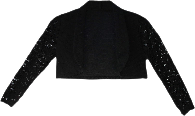 Bolero Girls Long Lace Sleeve Open Front Shrug Kids Cardigan Top Age 3-14 Years