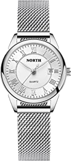 Waterproof Watches for Women Analog,Ladies Watch Leather Band,Womens Watch Silver and Gold N6019