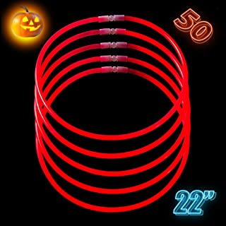CoBeeGlow Red Glow Necklaces Bulk Party Supplies - Red Glow Sticks 22 inch Bulk 50 - Extra Bright Glow in The Dark Necklaces - Strong and Durable - 9 Vibrant Neon Colors - Stuffers for Kids
