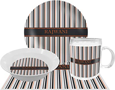 Gray Stripes Dinner Set - 4 Pc (Personalized)