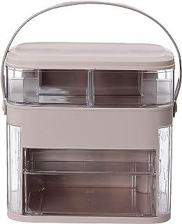 Organisateur de produits cosmétiques portable - Boîte de rangement de voyage - Panier et bacs - Dimensions : 30 x 29,5 x 2...