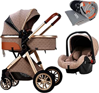 TXTC 3 in 1 Baby Stroller Carriage Foldable Luxury Pushchair Stroller Shock Absorption Springs High View Pram Baby Strolle...