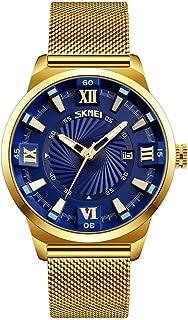 Men's Luxury Analog Quartz Waterproof Wrist Watches Roman Numeral Dial IP Gold Plating Steel Calendar Watch