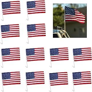"TSY TOOL 12 Pack کلیپ پنجره اتومبیل دکوراسیون میهن پرستی آمریکایی ایالات متحده پرچم 12 ""x 7.5"" روی پنجره اتومبیل - بسته 12"