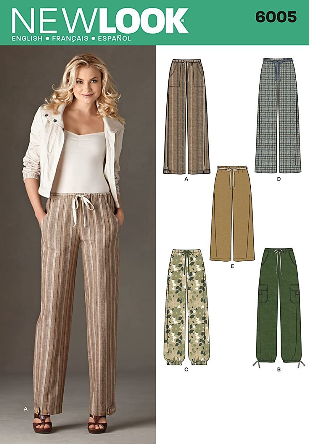 New Look Sewing Pattern 6005 Misses' Pants, Size A (10-12-14-16-18-20-22)