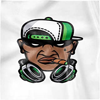 Lunarable Guy Decorative Napkins Set of 4, Hip Hop Culture Cool Looking Man with Smoke Headphones and a Cap, Silky Satin Fabric for Brunch Dinner Buffet Party, 18
