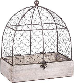 Rayher 46347000 volière décorative, cage à oiseaux en bois & métal, gris/marron