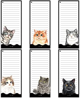 6 Pieces Magnetic To Do List Notepads Cat Magnetic Notepad Magnet Back-Memo Pad Reminders Notepads for Fridge, Grocery, Sh...