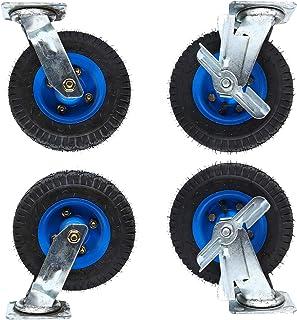LKLXJ Rubber Heavy Duty wielen, Top Plate Swivel Caster, Waterdicht en Roestvrij, Opblaasbaar wiel, Sterk en slijtvast, In...
