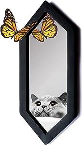 IRISVITA Small Hexagon Mirror - Rustic Wall Mirror, Decorative Mirror Black Wall Decor, Spooky Gothic Mirror, Wall-Mounted Goth Room Decor, Living Room Decor, Gothic Decor, 14''x 6 ''