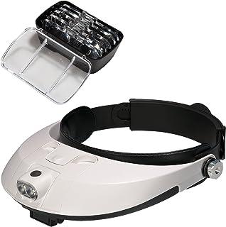 Covvy Cabeza Lupa Gafas con 2 Luces Led, 5 Lentes Intercambi