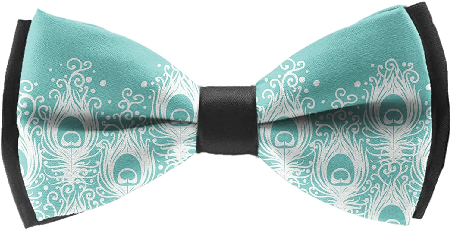 Men's Pre Tied Bow Ties for Wedding Party Adjustable Bowties(Peacock Feathers)