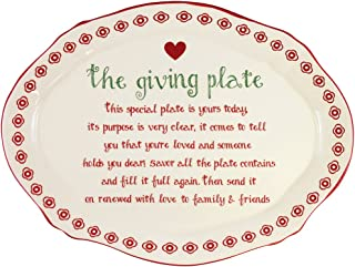 "DEI Ceramic Giving Plate, 9"" x 12"", White/Red"