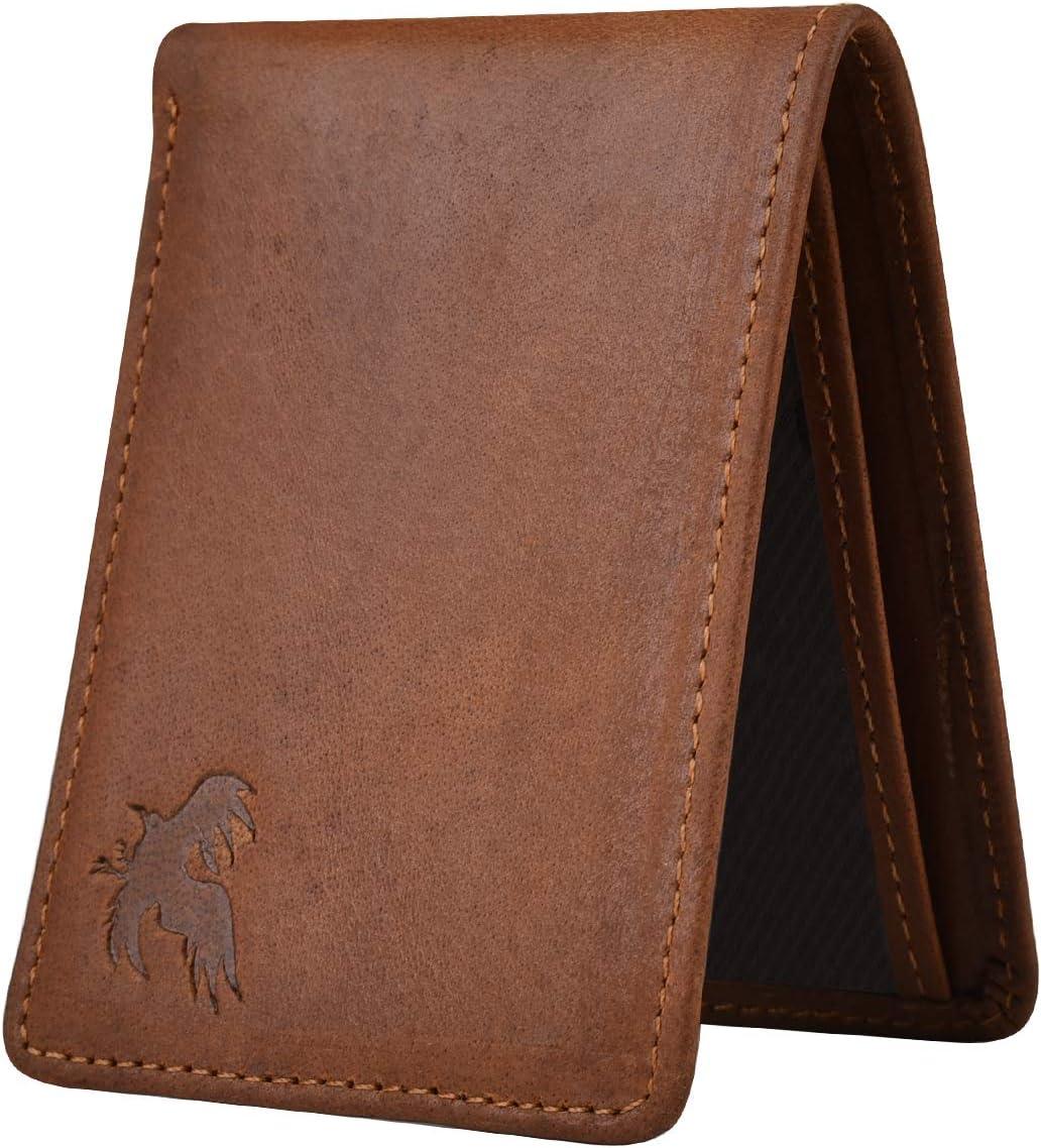 xc Bi-Fold Mens Wallet Slim, Handmade, Cowhide Natural Leather, Minimalist Wallet for Men (Brown)