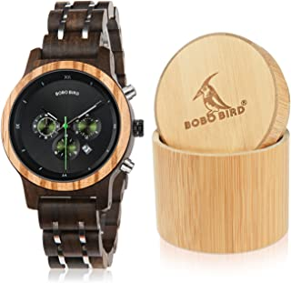 BOBO Bird Women Wooden Watches Luxury Wood Metal Strap Chronograph & Date Display Quartz Watch Fashion Zebra Wood Casual Business Ebony Wristwatches