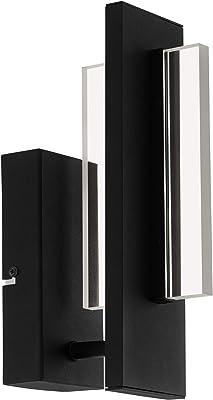 Eglo Spadafora 98496 Applique Murale Led à Intensité Variable, Moderne, Minimaliste, Applique Murale Intérieure en Aluminium et Plastique, Lampe de Salon en Noir, Blanc, Transparent