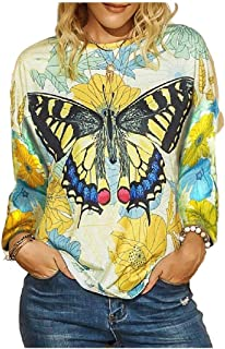 Comaba Womens Crew Neck Printing Fall Winter Blouse Oversized Tunic Top