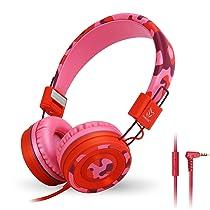 Yomuse C89 On Ear Foldable Headphones w/Microphone, Adjustable Headband For Kids Adults, iPhone iPad iPod Computers Tablets Smartphones DVD, Camo Pink