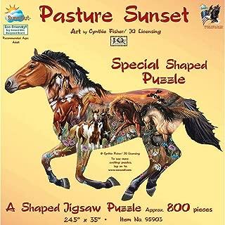Pasture Sunset Shaped Jigsaw Puzzle by SunsOut