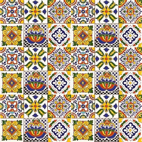 Sergio - 30 mexikanische Relief Fliesen 10x10 cm Talavera Badezimmer- und Küchenfliesen Dekoration für Badezimmer, Dusche, Treppen, Küchenrückwand, Zementfliesen, marokkanische Designs …