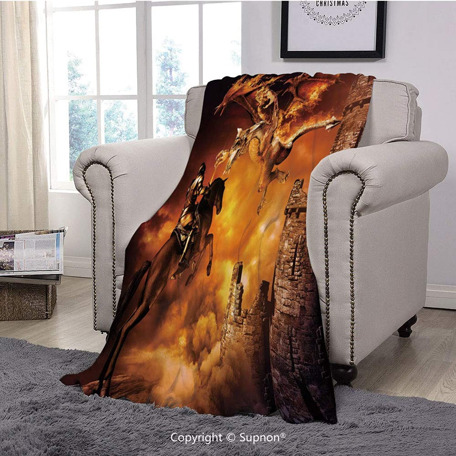 BeeMeng Throw Blanket Super Soft Fuzzy Light Blanket,Modern Decor,Kids Nursery Decor with a Knight on Horse Castle Mystic Fairytale Art,Black and Marigold(51  x 51 )