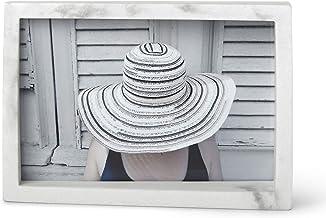 إطار صورة من الراتنج بحافة الرخام الأبيض لعرض الصور وسطح المكتب أو الحائط، 10.16 سم × 15.24 سم، بلمسة نهائية