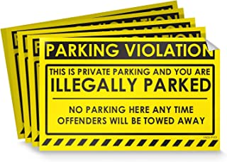 """Parking Violation Stickers for Cars (Fluorescent Yellow) - 50 No Parking Illegally Parked Cars in Private Parking Areas/Hard to Remove Super Sticky No Park Tow Warnings 8"""" x 5"""" by MESS"""