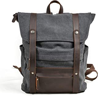 Soft Canvas with Cowhide College Mens Backpack Bags Fashion Backpack Bucket Bag (Color : Gray, Size : 31 * 11 * 42cm)