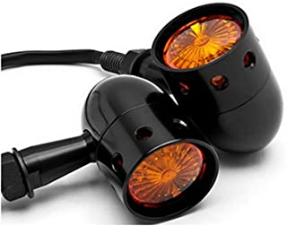 TASWK Motorcycle Turn Signals Blinker Lights Amber Lens for Softail Springer Heritage Classic a Pair (Black)