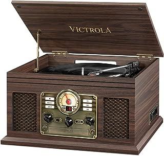 Victrola Nostalgic Classic Wood 6-in-1 Bluetooth Turntable Entertainment Center, Espresso (Renewed)