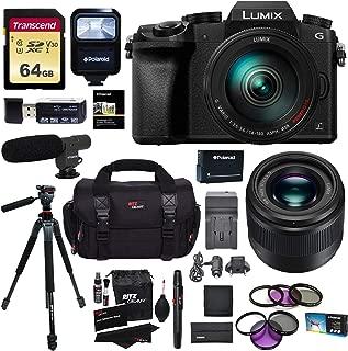 Panasonic G7HK 4K Digital Single Lens Mirrorless Camera 14-140mm Lens Kit, Panasonic H-H025K LUMIX G 25mm/F1.7 Lens, Transcend 64GB, Ritz Gear 60